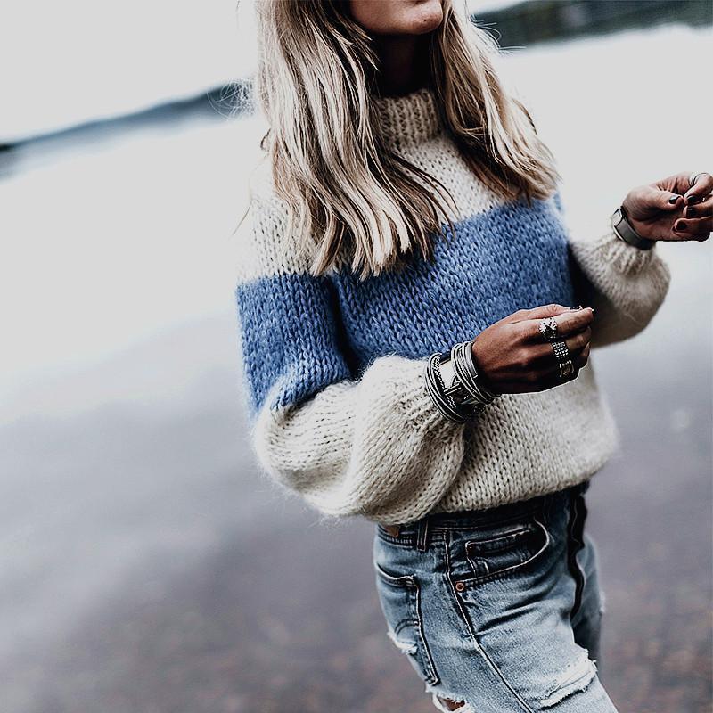 Frauenpullover Hohe Qualität Flauschig für Frauen 2021 Winter Dicke Warme gestreifte Gestrickte Pullover Langarm Mohair Pullover Jumper Frau