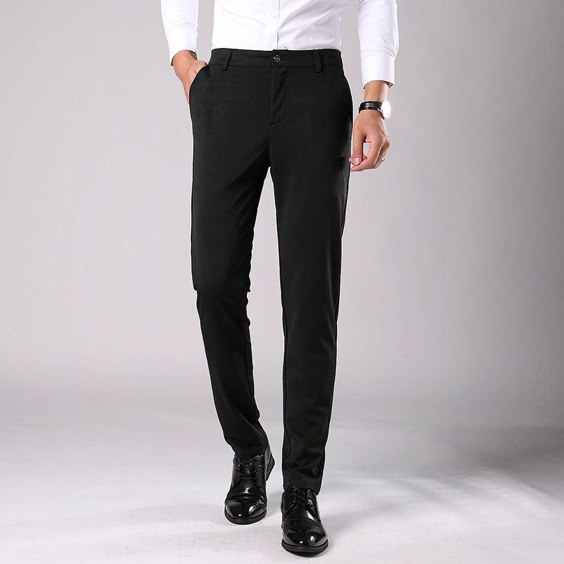 2021 New Men's Spring Autumn Fashion Business Casual Suit Pants Male Elastic Straight Formal Trousers Plus Size 28-38 Xgvy