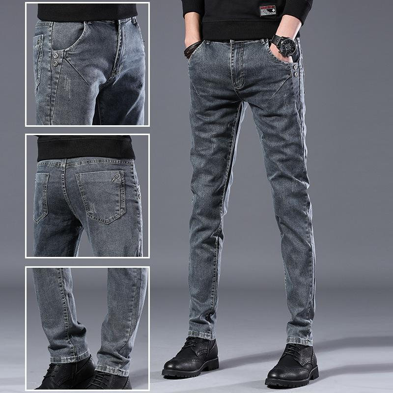 Ho New 2021 Men's Fashion Youth Elastic Jeans Grey Contracted Joker Little Cowboy Pants