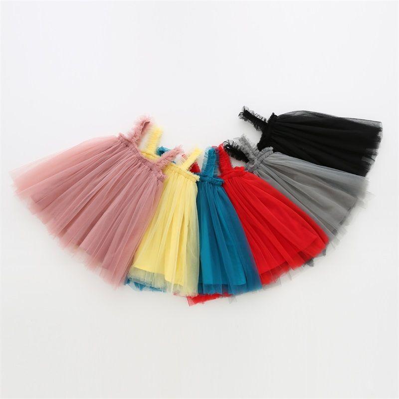 키즈 디자이너 옷 여자들 Tulle Suspender Skirts Tutu 여름 공주 드레스 ins 공 가운 A 라인 드레스 댄스 파티 우아한 드레스 321 U2
