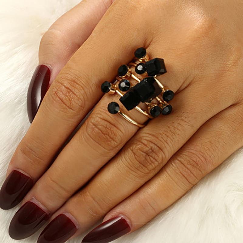 Wedding Rings Bohemian Knuckle Ring Set Vintage Crystal Joint For Women Valentine Gift Anillo Neutral FJSL