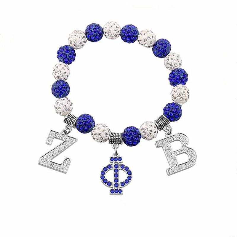 Браслеты очарования мода синий белый хрустальный шар шарики греческие буквы Sonority ZETA PHI бета-браслет общество символ браслеты ювелирные изделия для женщин