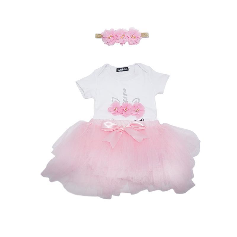 Bebek Unicorn Romper + Tutu Etekler Kıyafetler Yaz 2021 Çocuk Butik Giyim 3-24 M Bebek Kız Doğum Günü Partisi Giydir 322 Y2