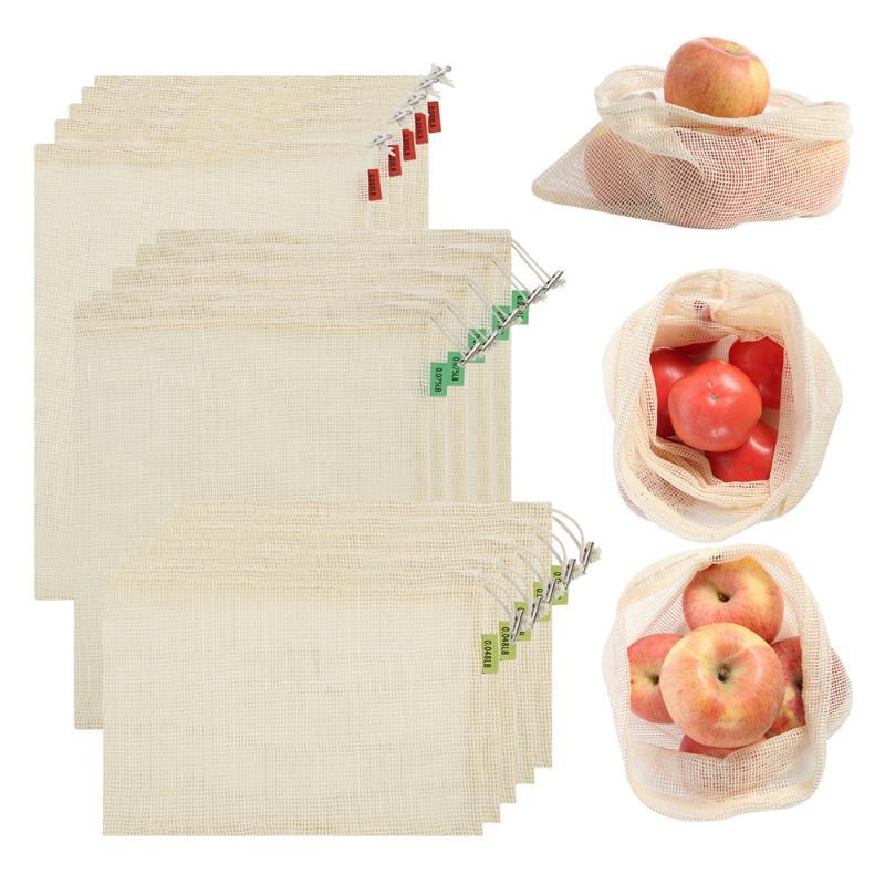 Sacchetto di maglia di cotone organico La maglia riutilizzabile produce sacchetti borse per la spesa di frutta di verdura eco-compatibile con cordoncino
