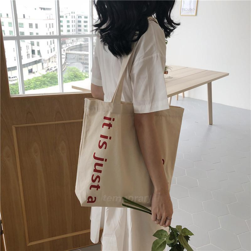 2021 Coreano grande capacità di tela borse da donna Borsa da donna a spalla shopping HARAJUKU Signore Panno di cotone Eco riutilizzabile Shopper Bag
