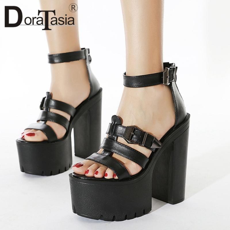 Доратасия новая новая женщина 2021 готические сандалии мода высокие платформы сандалии женщины вечеринка сексуальные толстые высокие каблуки черные туфли женщины