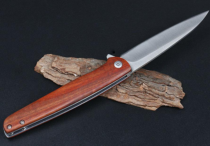 Faca de dobramento de flipper 5cr13Mov folha de aço de cetim + cabo de madeira acampamento ao ar livre caminhadas de facas de bolso EDC