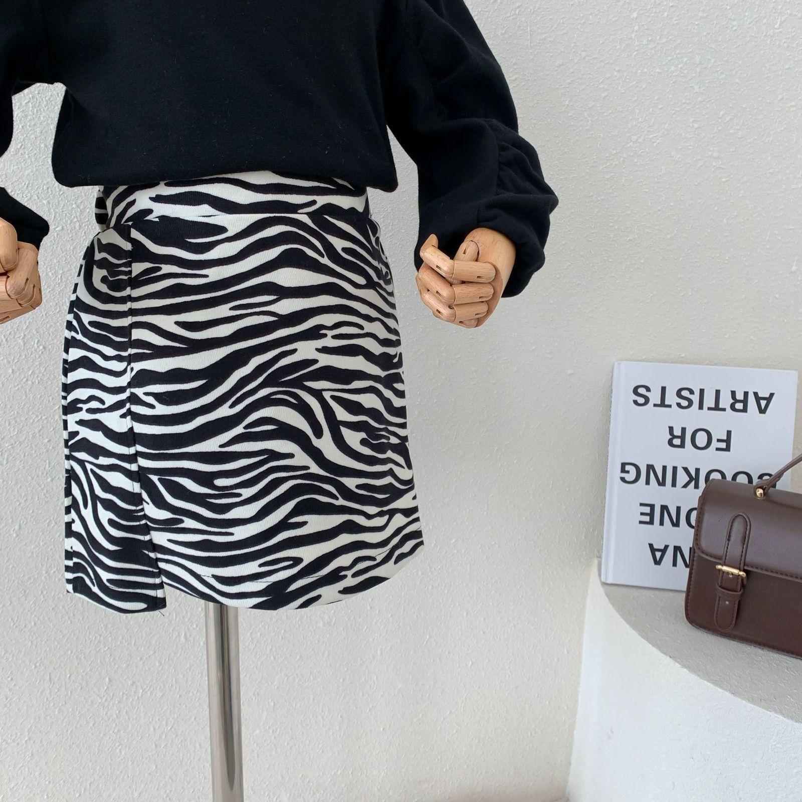 Yeni Çocuk Giysileri Zebra Desen Moda Kısa Etekler Sevimli Bebek Kız Yüksek Bel 2021 Yaz Femme İnce Alt Tatlı Rahat Streetwear 6N77