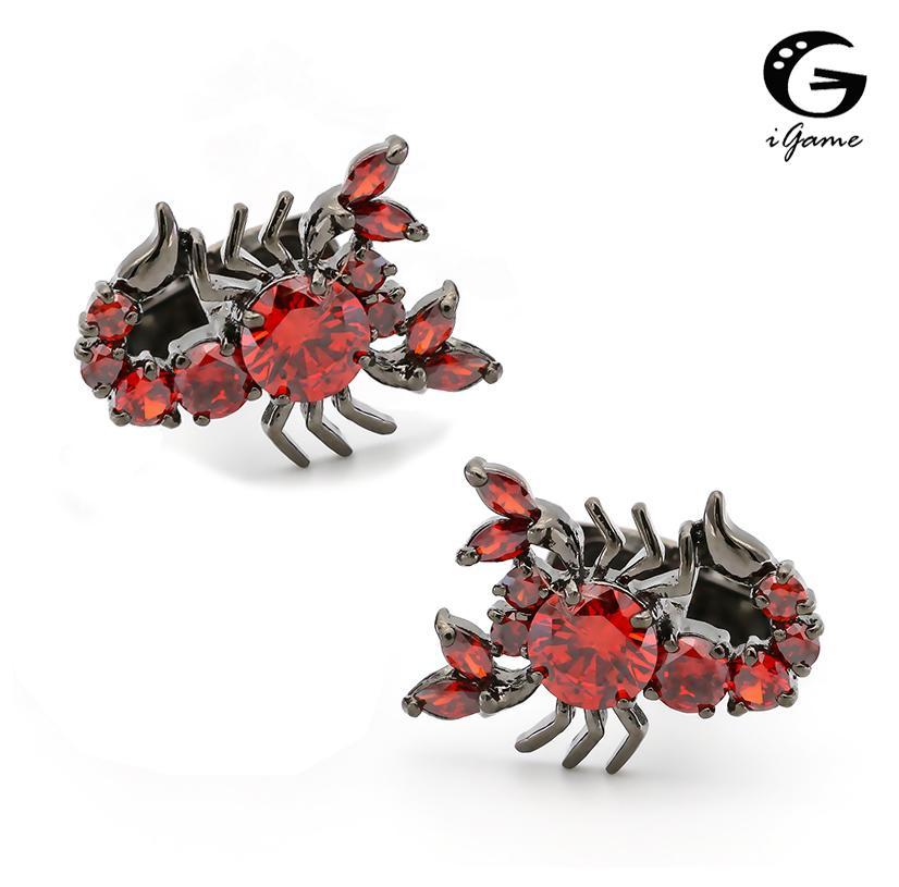 Igame Scorpion Запонки 2 Цвета Опция Прохладный Старинный Роскошный Ручной Кристалл Дизайн Кристалл Латунная Манжета L0310