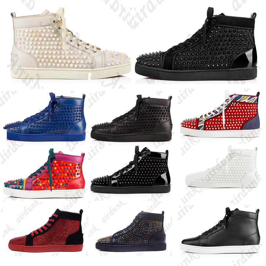 2021 Kutusu Luxuries Loafer'lı Erkek Kadın Rahat Ayakkabılar Kırmızı Alt Stilist Ayakkabı Çivili Insider Moda Sneakers Spikes Yüksek Top