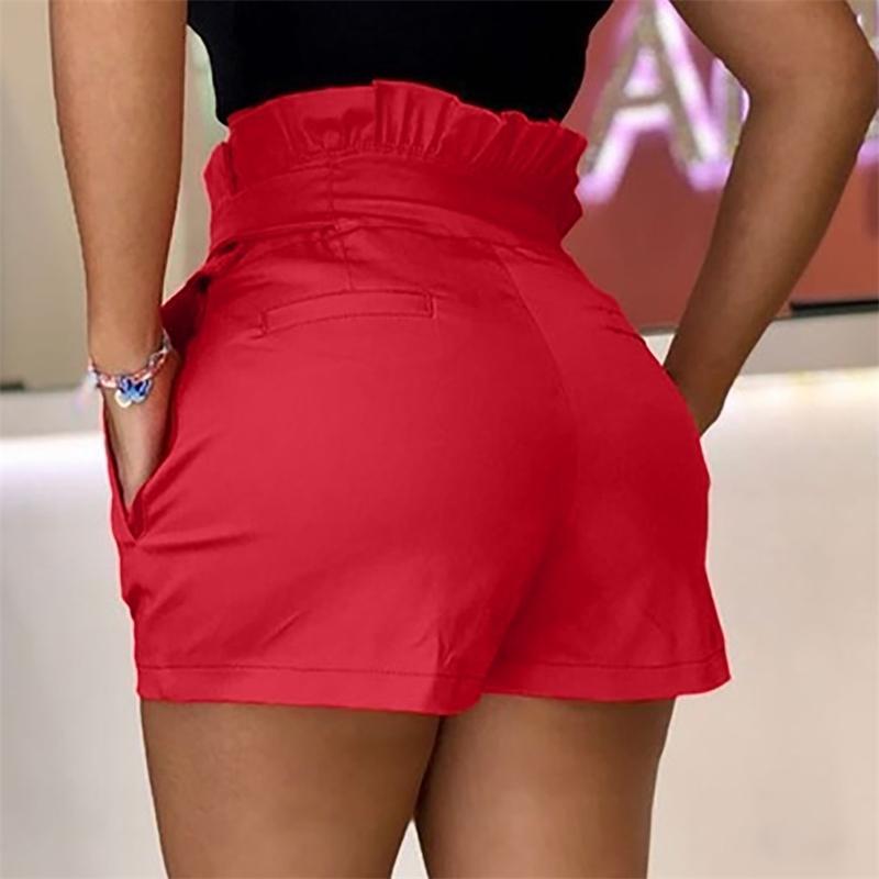 Nouveau Couleur Solide Noir Rouge Courte Feminino Femme Mode Shorts Sexy Creux Summer Coton Short Femme Spodenki Damskie #C 210309