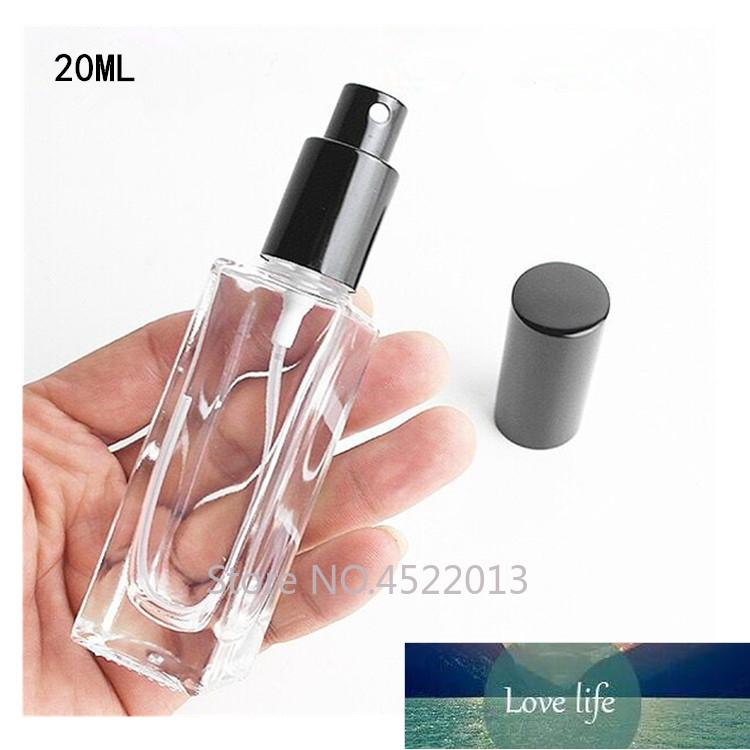 Botella de perfume de rociado de alta clase de vidrio vacío de 20 ml, envase recargable líquido cosmético, paquete de perfume de viaje portátil