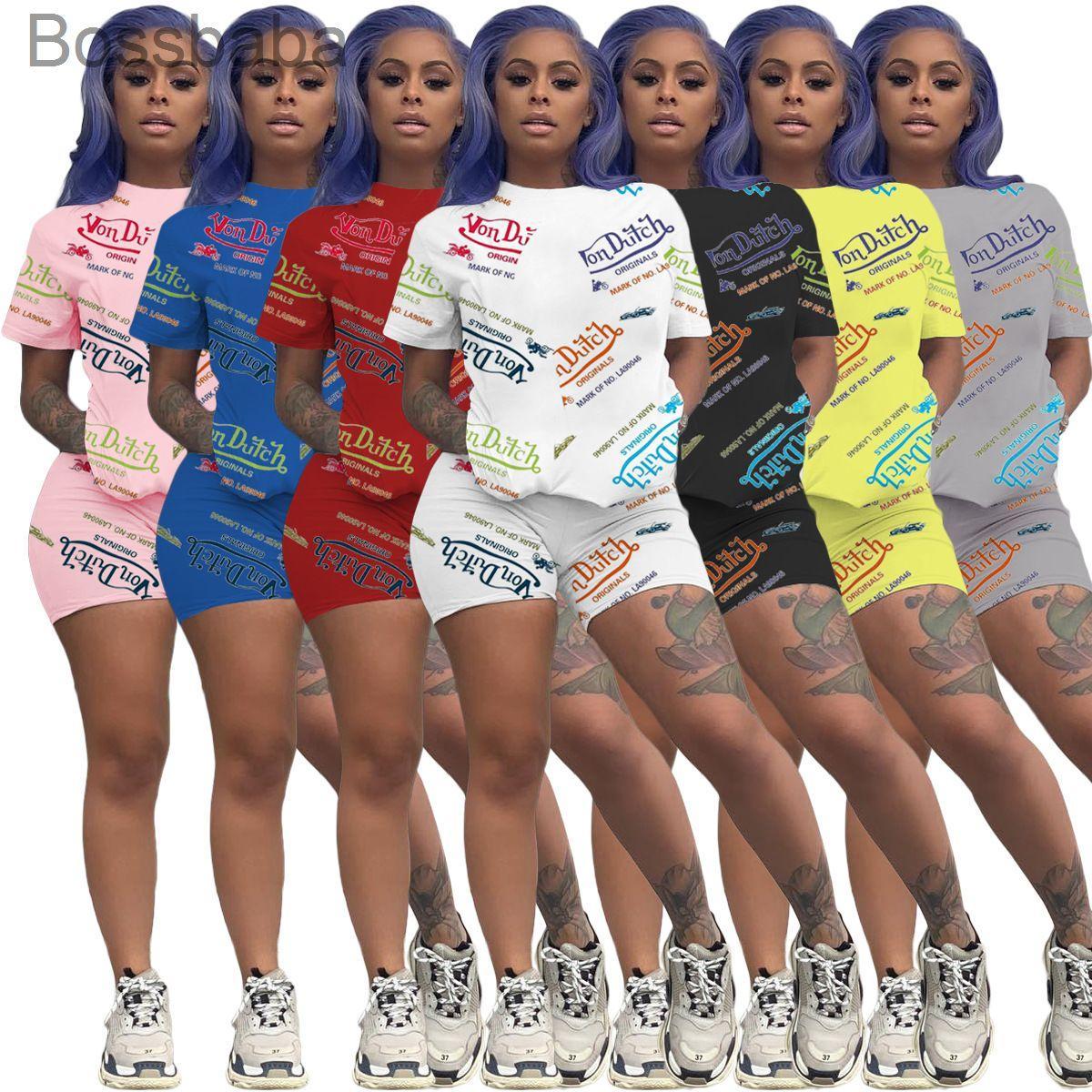 النساء 2 قطعة مجموعة مطبوعة إلكتروني رياضية قصيرة الأكمام السراويل قطعتين الركض البدلة المرأة الصيف الأزياء 835