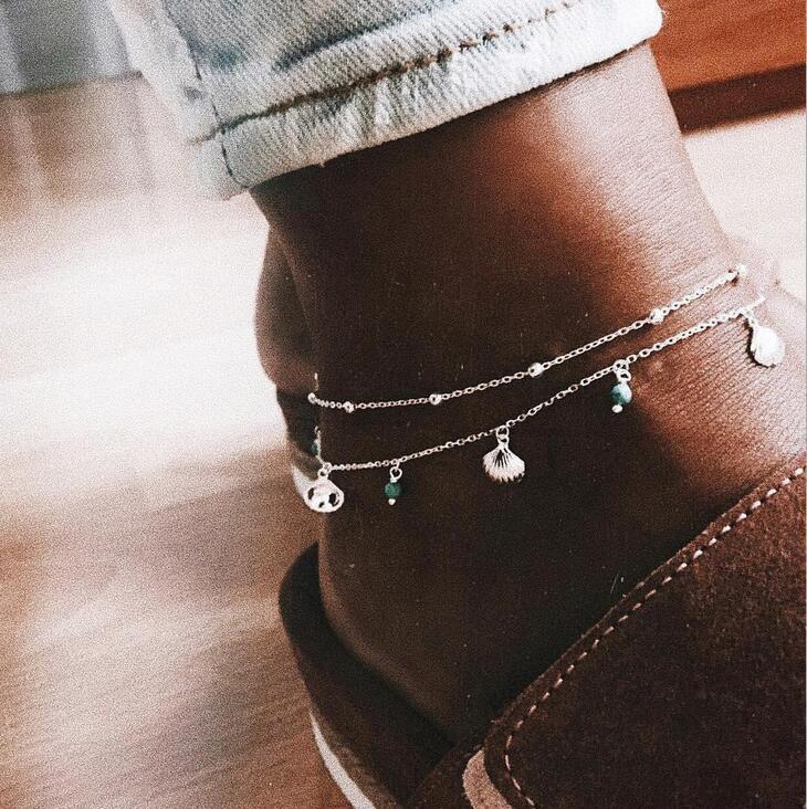 Ювелирные изделия мода простая оболочка бирюзовый гребешок шаблон из бисера двухсекционный браслет