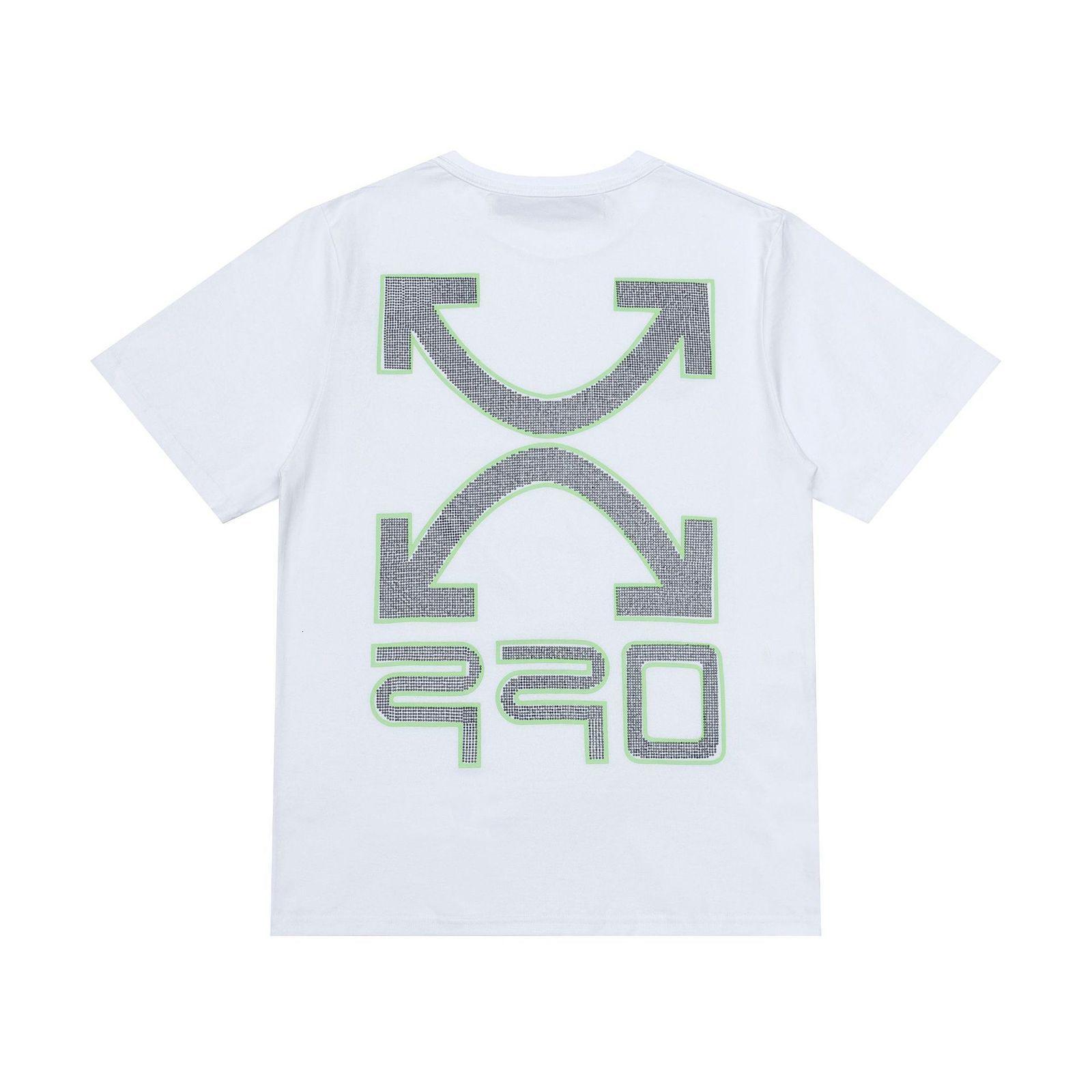 2021 Primavera Summer New Off Style Style Stampa bianca, stampaggio a caldo e t-shirt manica corta versatile