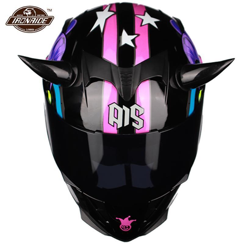 Casques de moto Double visière Casque Full Full Casco Moto Modular Modular avec Coin Motocross Viker Capacete