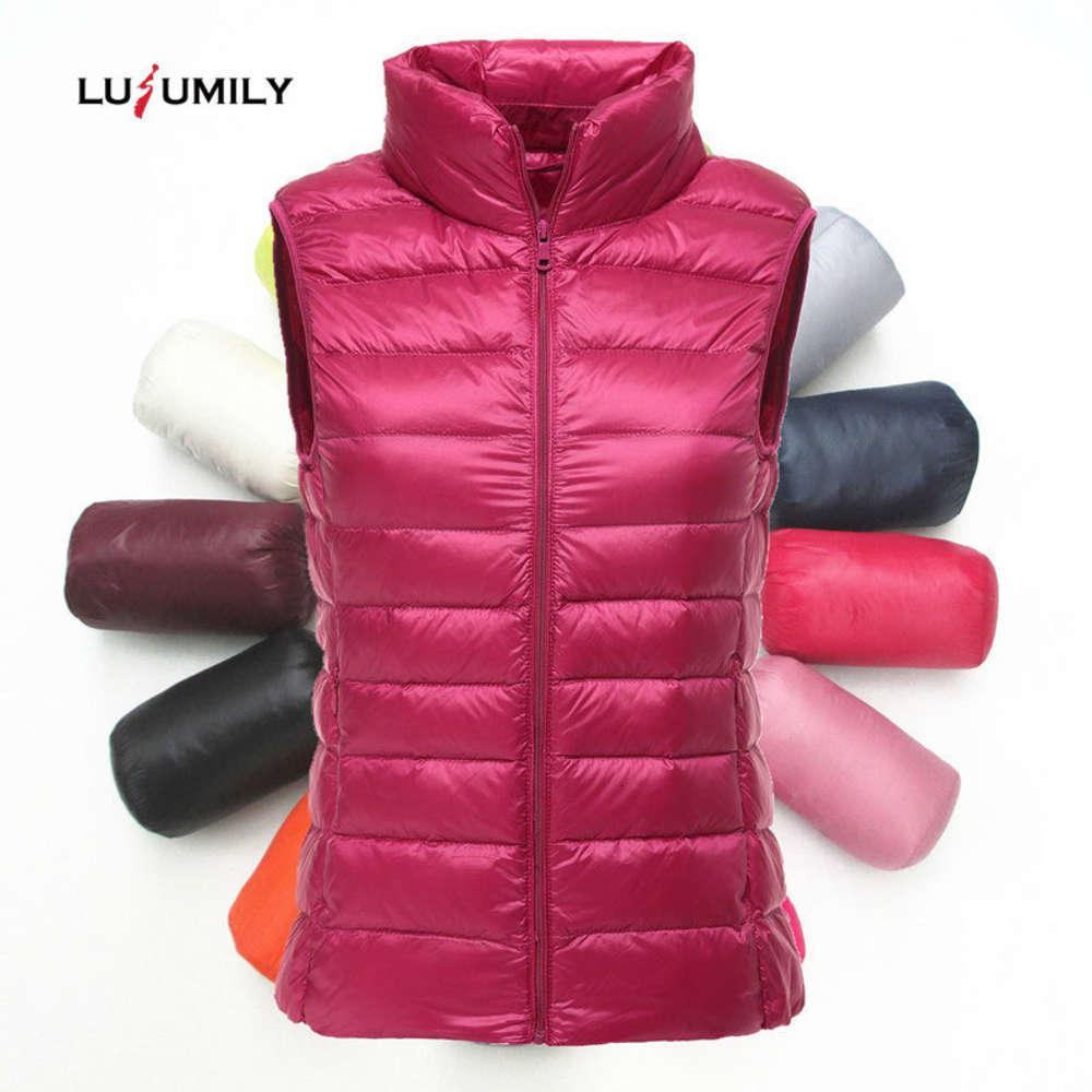 Lusumily Brand 90% White Duck Down Female Sleeveless Jacket Winter Ultralight Slim Vest Women's Windproof Warm Waistcoat