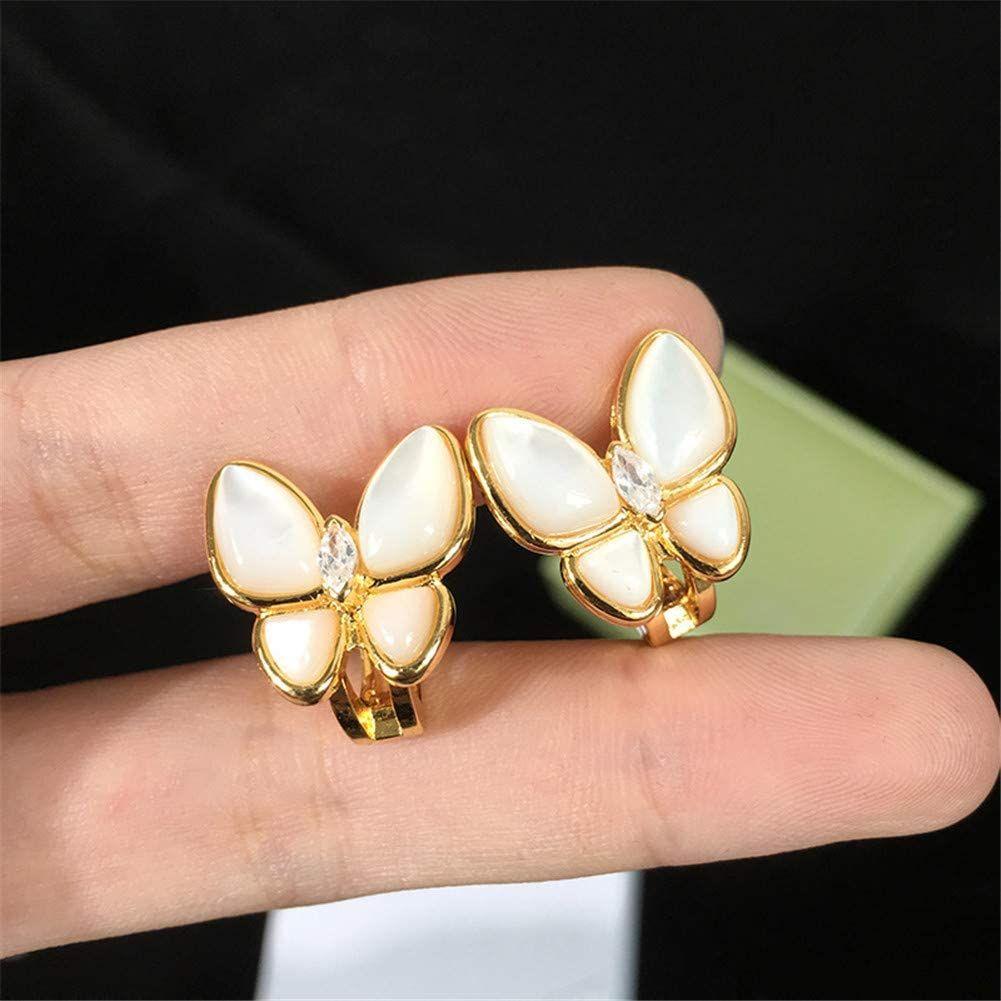 Fashion 18K oro 4 / quattro foglia trifoglio clip-onscrew backcharm a bottone orecchini 925 sterling sterling flower figura farfalla con gioielli regalo scatola