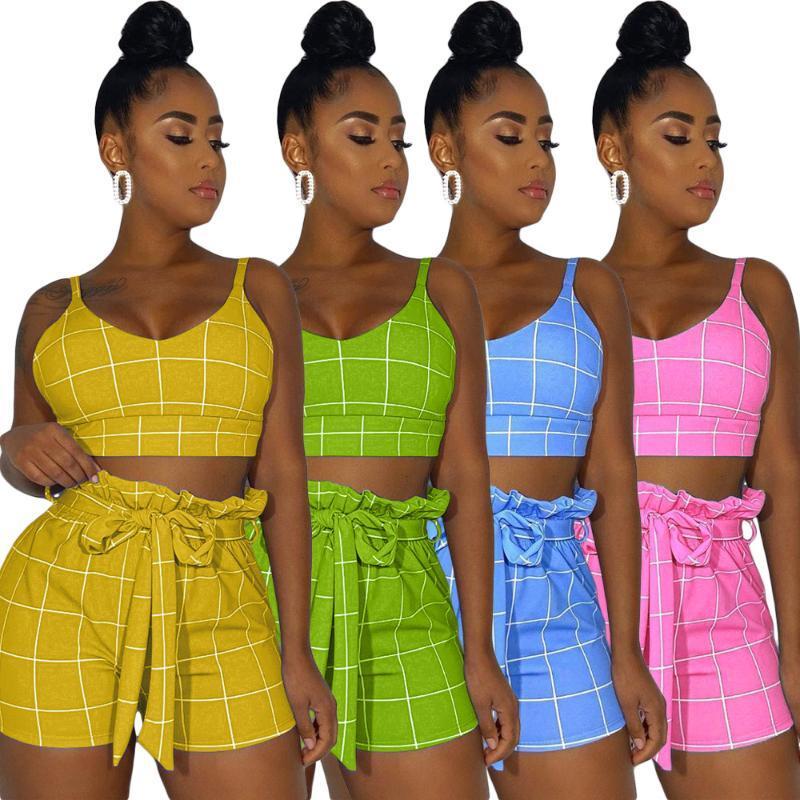 النساء رياضية S-2XL الصيف النساء الملابس الأزياء 2021 منقوشة الطباعة أكمام الأعلى والسروال اثنين من قطعة مجموعة الجملة قطرة بالجملة