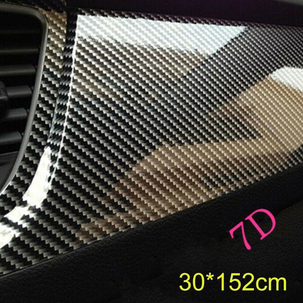 세련된 블랙 7D 광택 탄소 섬유 PVC 랩 비닐 릴리스 데칼 랩 자동차 공기 스티커 필름 Z9Y1