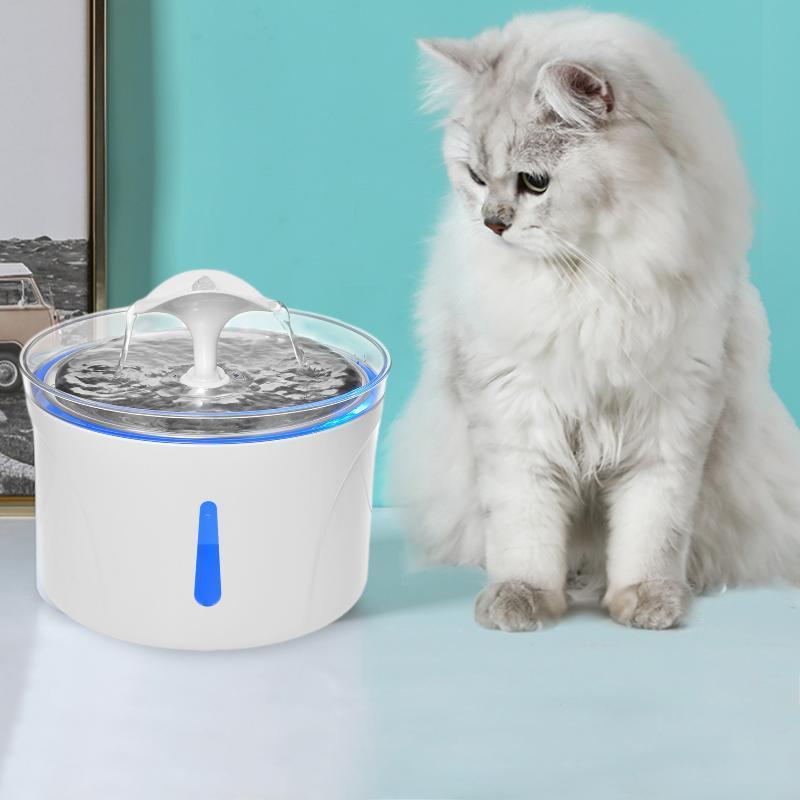 1 unid acero inoxidable gato bebiendo fuente automática mascota fuente de beber con luz led para perros gatos gatos dispensador contenedor