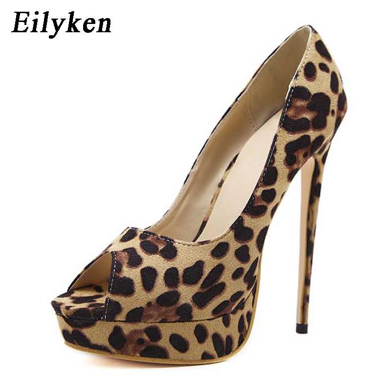 Eillken Высочайшее Качество Леопардовые Зерновые Женские Обувь Сексуальные Высокие каблуки 2021 Peep Toe Party Женские Насосы Светание Обувь 210225