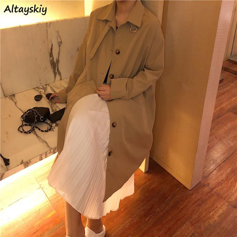 Women's Trench Coats Spring Autumn Outwear Womens Solid Elegant Single Breasted Pockets Casual Streetwear Females Coat All-match