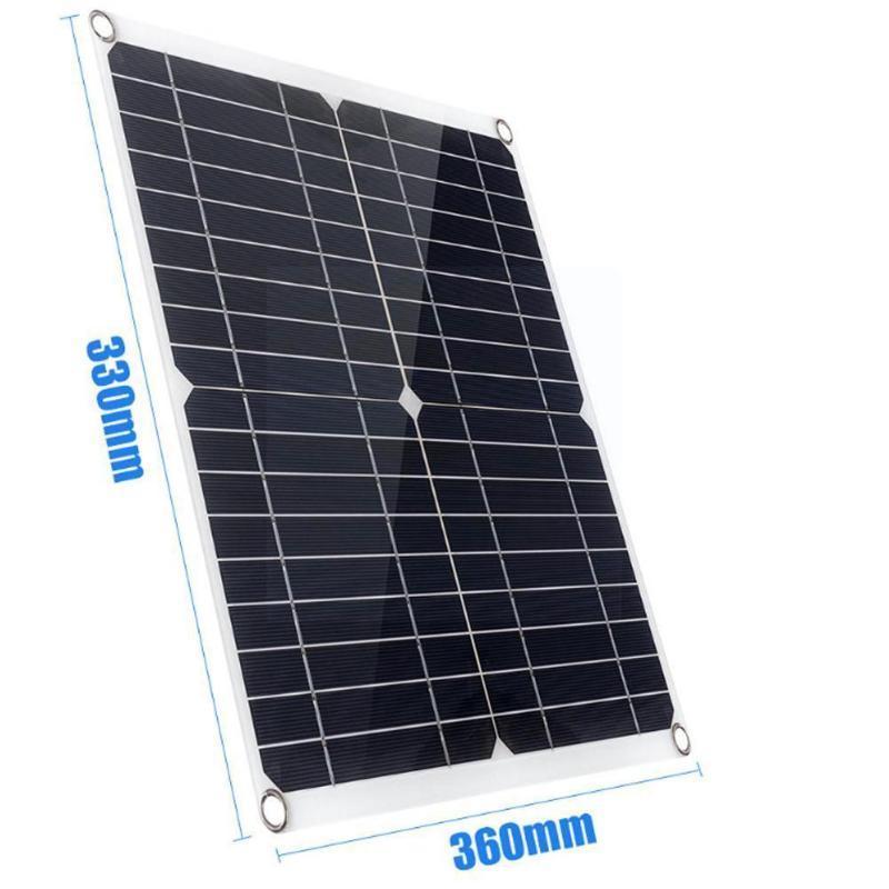 Piezas monocristalina panel solar controlador kit 20W 18V Accesorios para dispositivos automáticos de 5V RV Cargar teléfonos de barco Baterías Coche N2A9