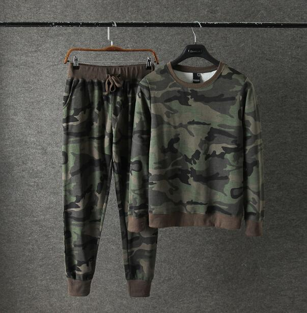 2021 New Men's Camouflage Hoodies and Sweatpants Casual Sportswear Suit Mens Sporting Tracksuit Set 9604