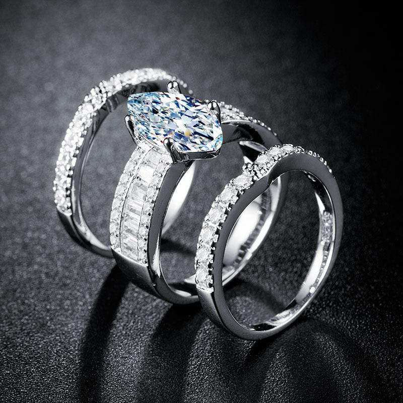 2021 Luxury Marquise 925 Sterling Silver Wedding Ring Set Africa Bridal For Women Lady Anniversary Gift Jewelry Whole R5388