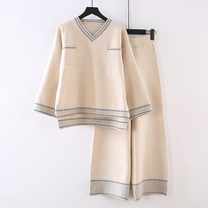 Bayan takımları, geniş bacaklı pantolon, iki parçalı takım elbise, moda kazak tarzı, öfke iki parça kıyafetleri tanımlar SYW6