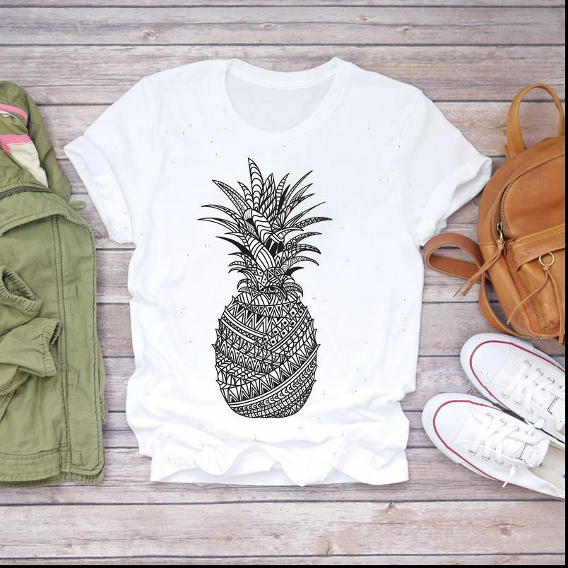 Pintura Mujeres 2021 Verano Piña Divertida Dulce Fruta Camisas Camisas Top Señoras Mujeres Gráfico Femenino Camiseta T Shirt