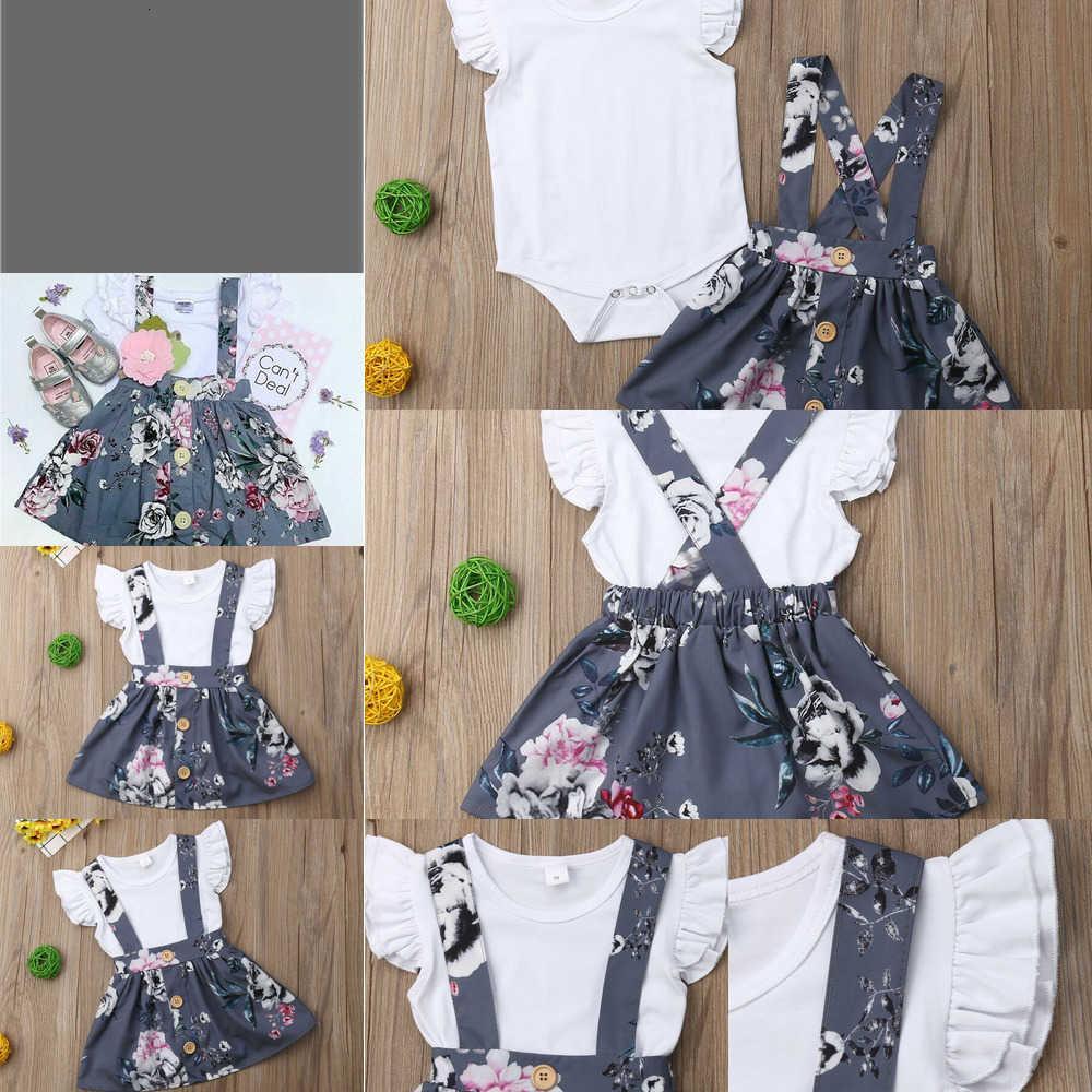 Summer Toddler Kids Baby Girl Princess Sets 0-24 MonthsThs Ropa de algodón Ruffle Mosca de vuelo Momper + Falda de correa floral 2pcs Outfit H1OD