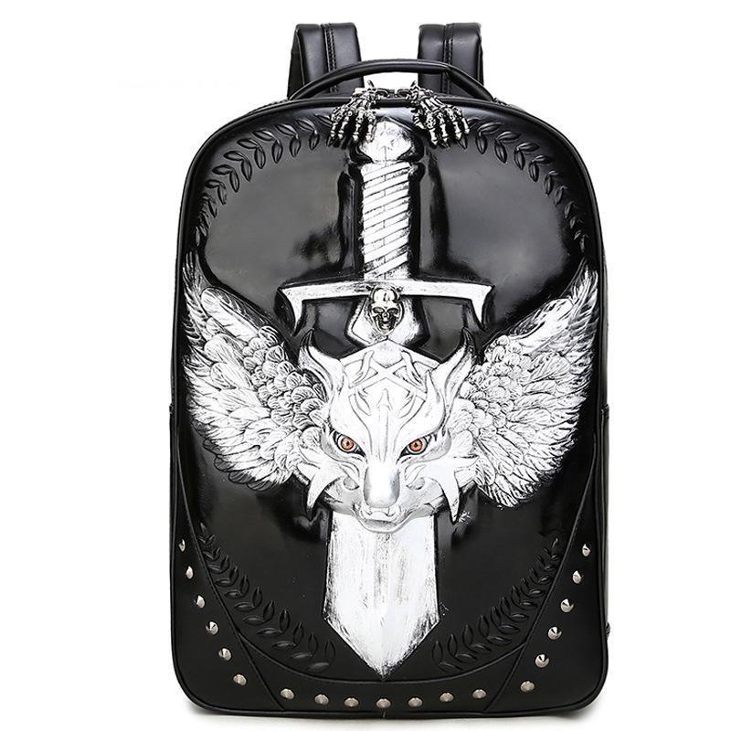 Backpack Unisex Vintage Men Pu Leather School Bags For Teenage 3D Emboss Spatial Wolf Sword Travel Bag Restore High Quality