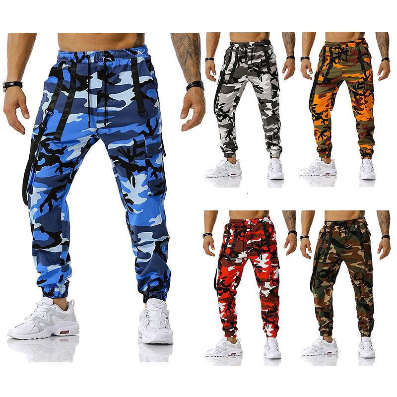 2021 Новый 100% хлопок высокого качества мужской мужчина шить камуфляж брюки хип-хоп повседневные брюки мода Streetwear 4FPE ZW7B