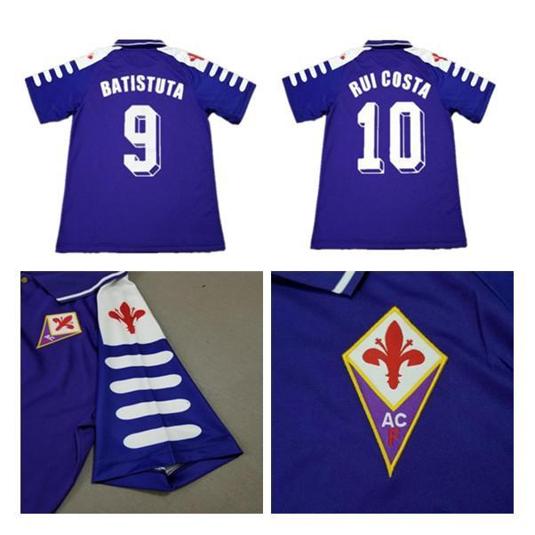1998 1999 الرجعية فيورنتينا لكرة القدم الفانيلة 9 batistuta 10 روي كوستا مخصص خمر 98 99 الرئيسية كرة القدم قميص 2000 camisas de futbol