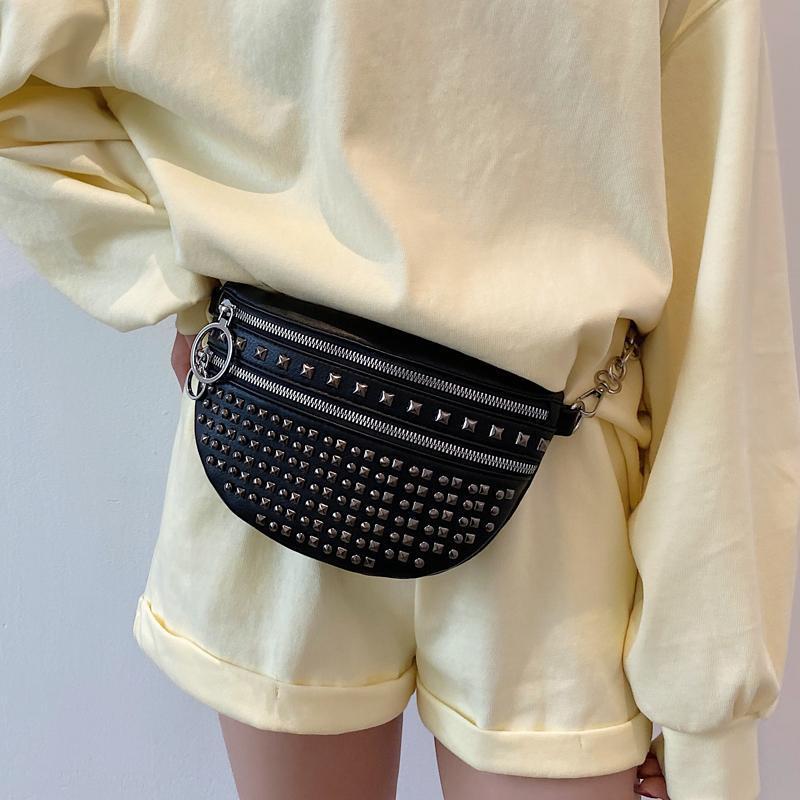 Bel Çantaları Şık Kemer Çanta Bayanlar Perçin Crossbody Kadınlar için 2021 Moda Göğüs Rahat Fanny Paketi Lüks FemalePurse