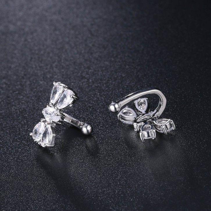 S925 Pure Sier Zirkon Neue Nette Persönlichkeit Drawy Ohrclip Ohrringe Vielseitiges Mode Geschenk