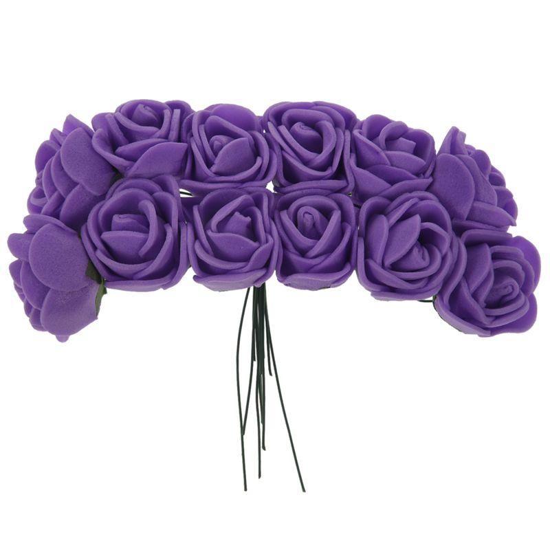 Dekorative Blumen Kränze 144 stücke 2cm Pe Rose Schaum Mini Blume Blumenstrauß Solide Farbe / Hochzeitsdekoration lila