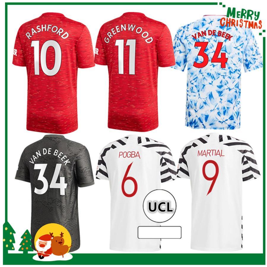 Manchester 2020 2021 Cavani Greenwood Pogba Rashford Alex Dites à Home Soccer Jersey 20 21 Sport Football Shirt Adult Hommes + Kit Kit