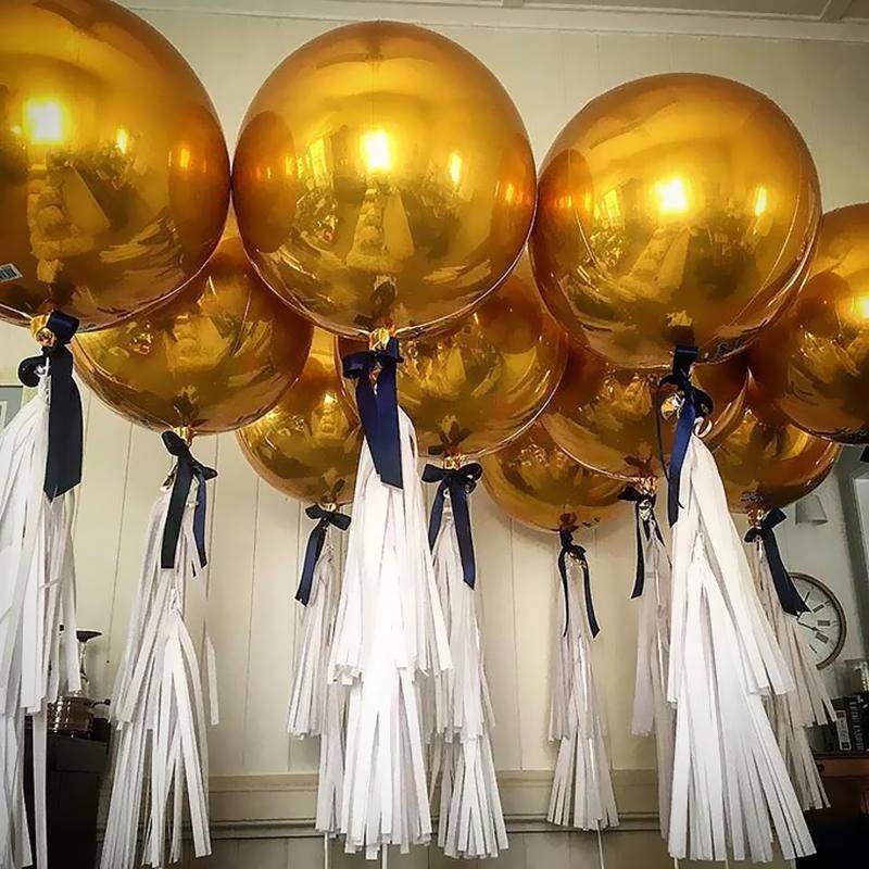 1 pc 18-32inch gigante ouro prata brilhante cromo bolha balão casamento festa de aniversário decoração Balões metálicos hélio suprimentos
