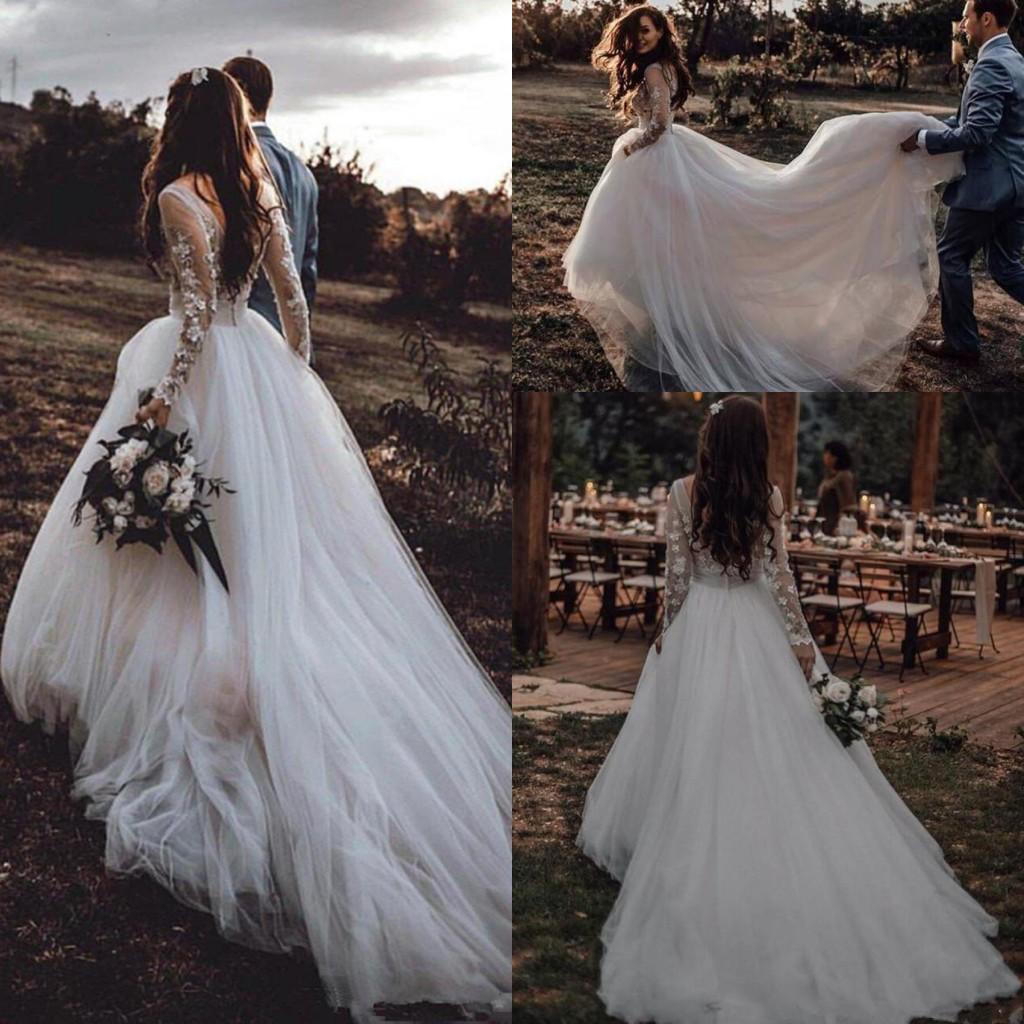 2021 Land Brautkleider Lange Ärmel Spitze Applique Sweep Zug SCOOK Hals Tüll Custom Made Hochzeit Brautkleid Vestido de Novia