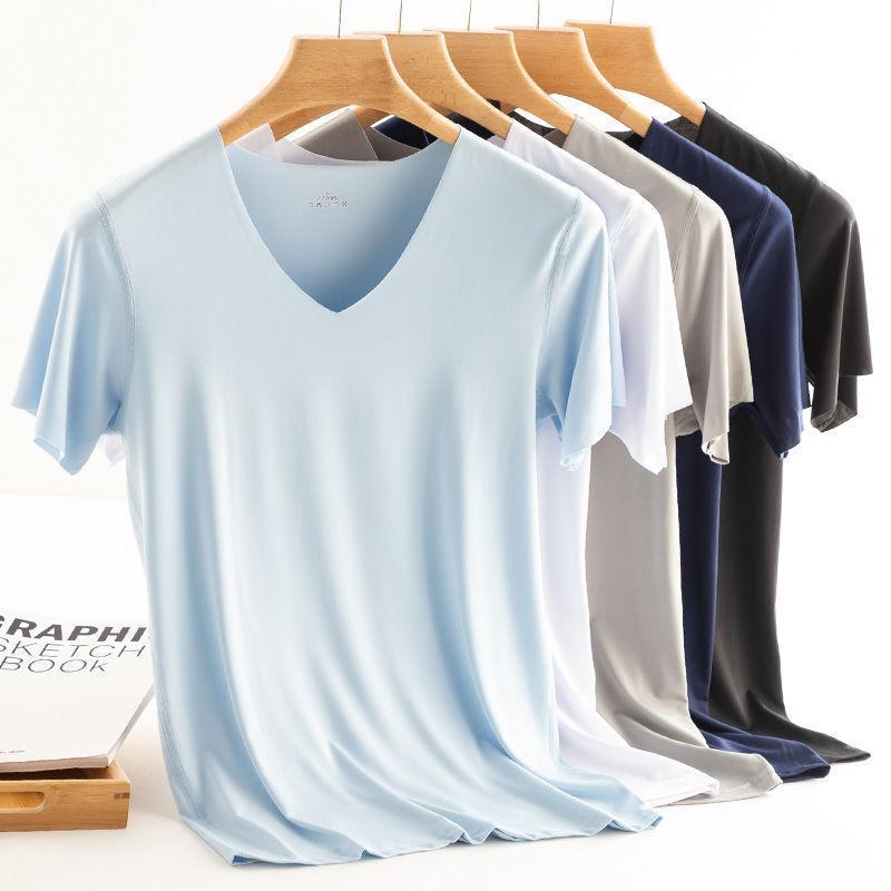 남성용 티셔츠 2021 남성 T 셔츠 피트니스 탄성 얼음 망 V 넥 짧은 소매 남성 마이크로 섬유 Tshirts M-5XL 의류