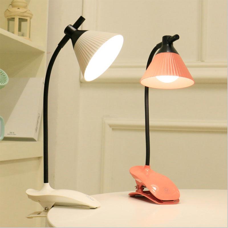Настольная лампа светодиодная трехскоростная димминг сенсорный коммутатор для чтения лампы USB аккумуляторная складная флексовая зажимная спальня кровать