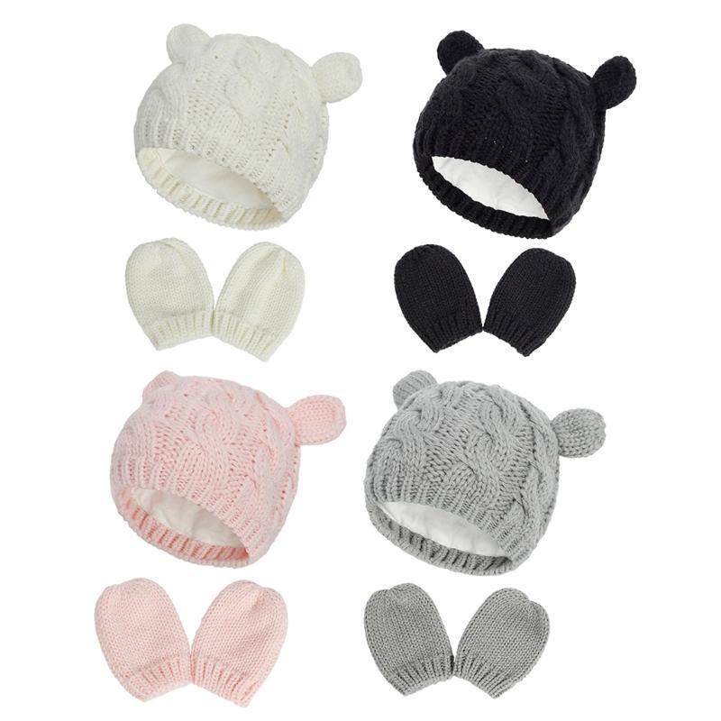 Chapeau de bébé et mitaines mis avec les enfants tricoté bonnet de bonnet hiver hiver chaud pompon chapeaux gants
