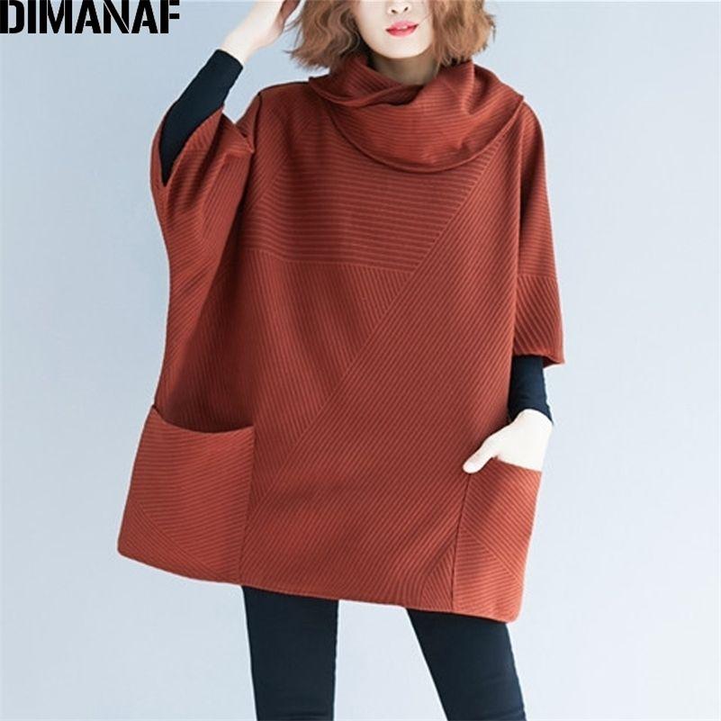 Dimanaf Plus Plus Размер Женщины Толстовки Пуловеры Женщины Топы Рубашки Восхотит Туртлена Осень Зима Большой Размер Свободная Повседневная Толстая одежда 201102
