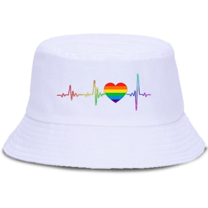 Beating Heart Print Harajuku Fisherman Hat Cotton Casual Summer Bucket Caps Solid Fashion Bucket Cap Unisex Casual Sun Hats