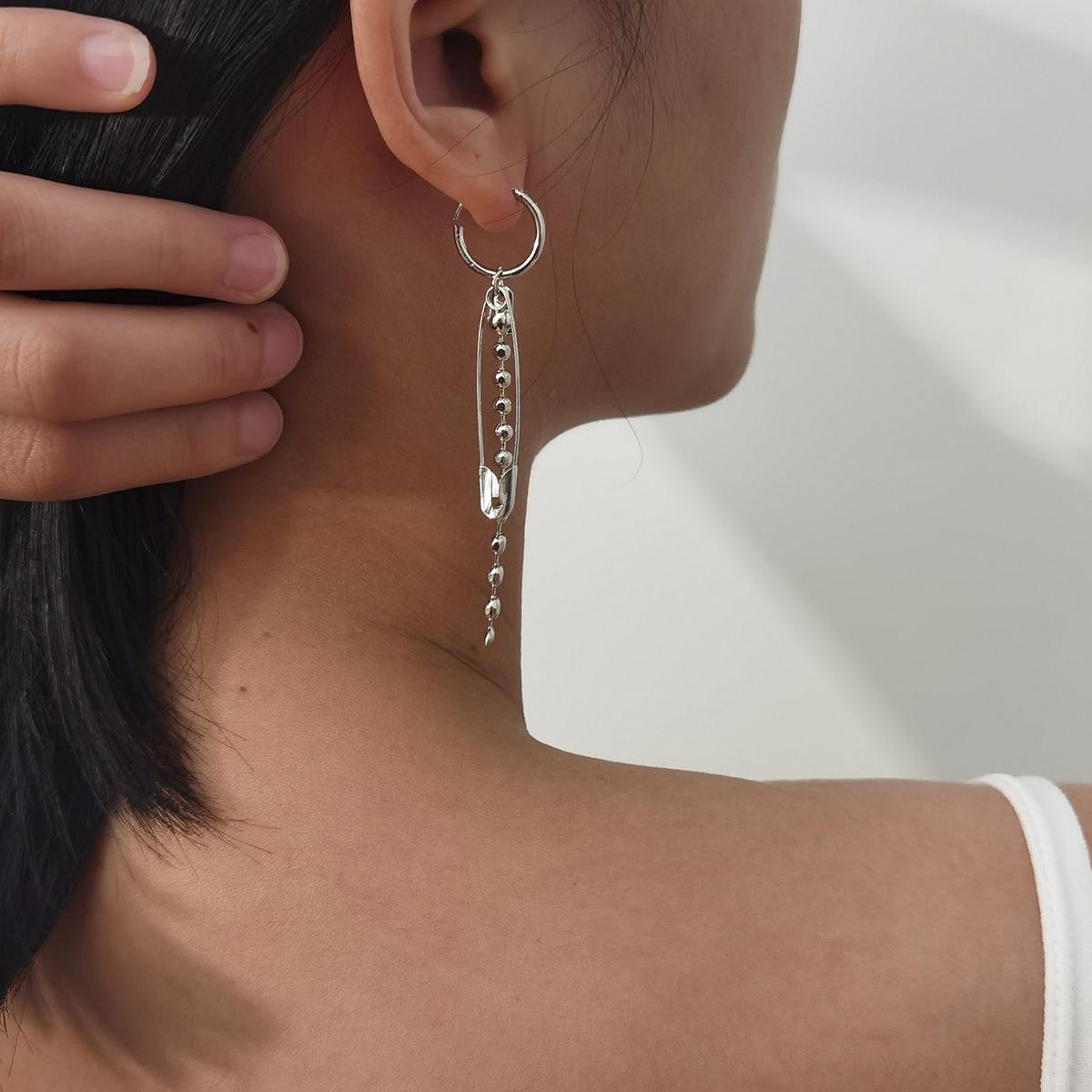 Takı Basit Geometrik Zincir Küpe Net Moda Stil Kağıt Klip Kulak Toka Kadın