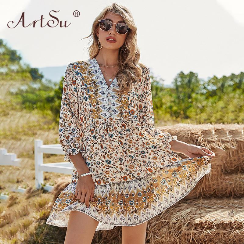Casual Dresses Boho Retro Ethnic Floral Print Summer Dress Women Spring V-Neck Three Quarter Loose Mini Holiday Beach Vestidos
