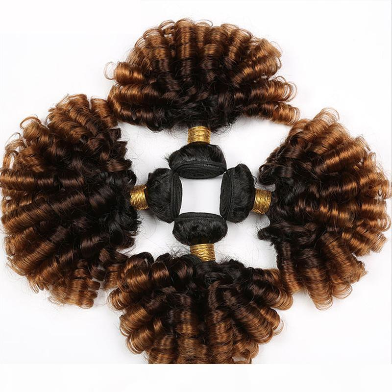 Kabarık kıvırcık saç demetleri 3 4 adet 1B 4 30 ombre renk insan saç uzantıları kıvırcık saç örgü demetleri